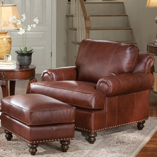 Smith Brothers 324 Leather Chair & Ottoman with Nailhead Trim