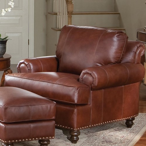 Smith Brothers 324 Leather Arm Chair with Nailhead Trim