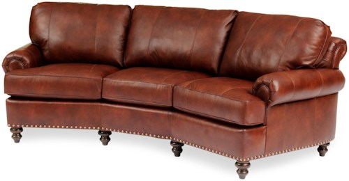Smith Brothers 324 Leather Conversational Sofa with Nailhead Trim