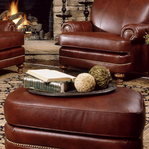 Smith Brothers 346 Ottoman with Nailhead Trim