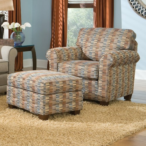 Smith Brothers 366 Casual Chair and Ottoman with Tapered Wood Legs