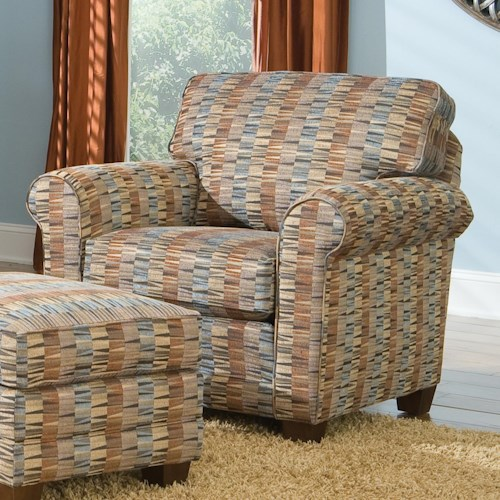 Smith Brothers 366 Casual Stationary Chair with Rolled Arms