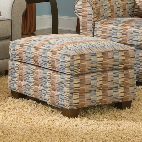 Smith Brothers 366 Casual Ottoman with Tapered Wood Legs
