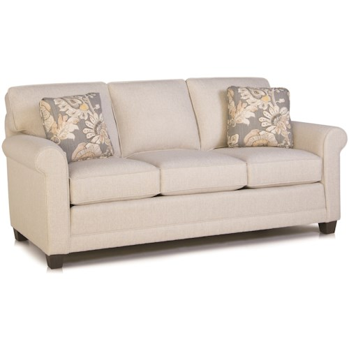 Smith Brothers 366 Casual Stationary Sofa with Rolled Arms