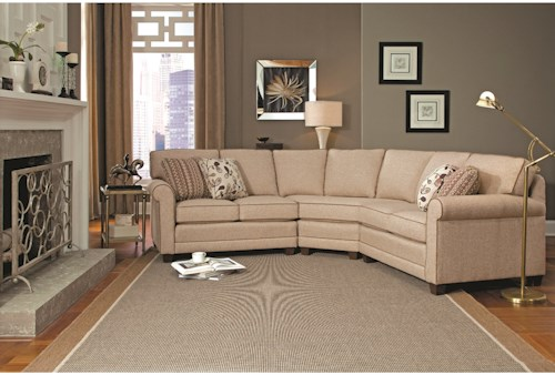 Smith Brothers 366 Casual 3-piece Sectional with Wedge