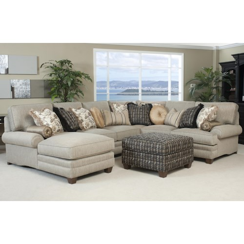 Smith Brothers 375 Traditional Styled Sectional Sofa with Comfortable Pillowed Seat Back