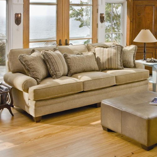 Smith Brothers 375 Stationary Sofa with Rolled Arms