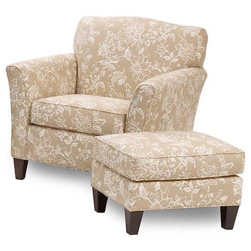 Smith Brothers 378 Upholstered Chair & Ottoman with Tapered Wood Feet