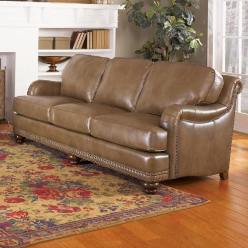 Smith Brothers 388 English Sofa with Rolled Back, English Arms, and Nail Head Trim