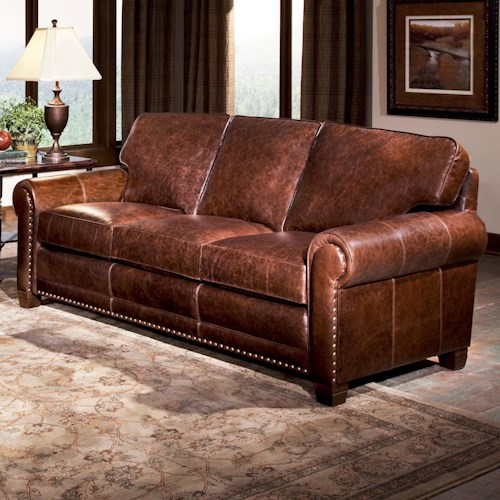 Smith Brothers 393 Traditional Stationary Sofa with Nailhead Trim