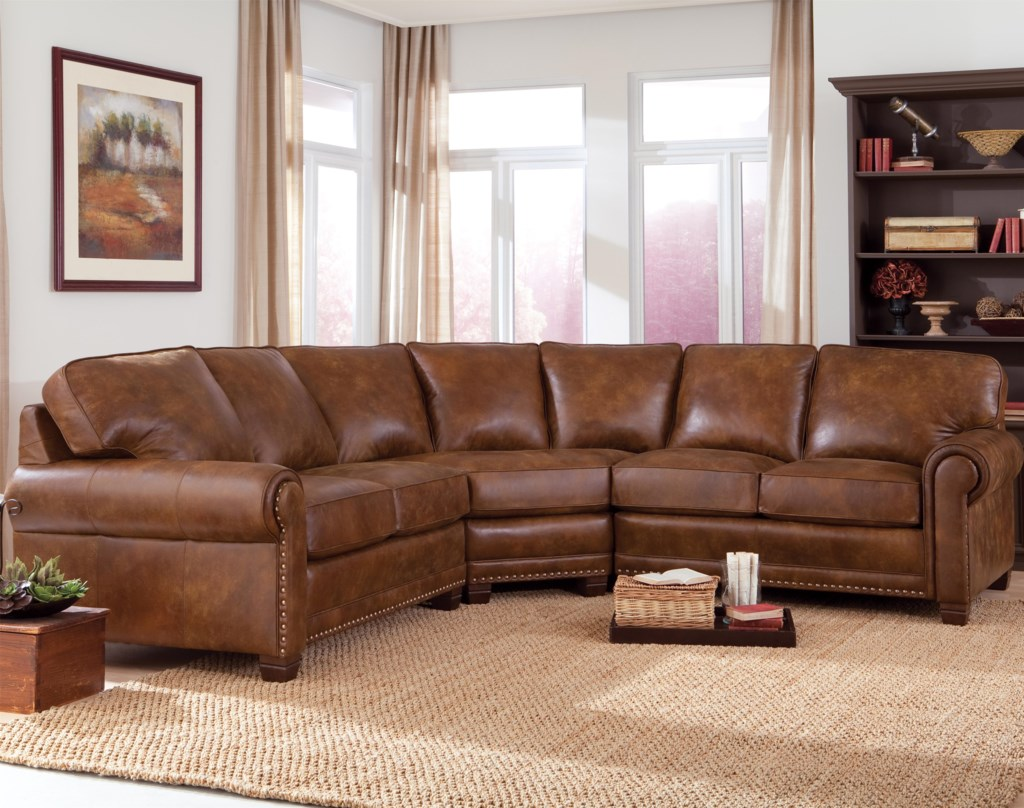 Smith Brothers 393 Traditional 3 Piece Sectional Sofa With Nailhead
