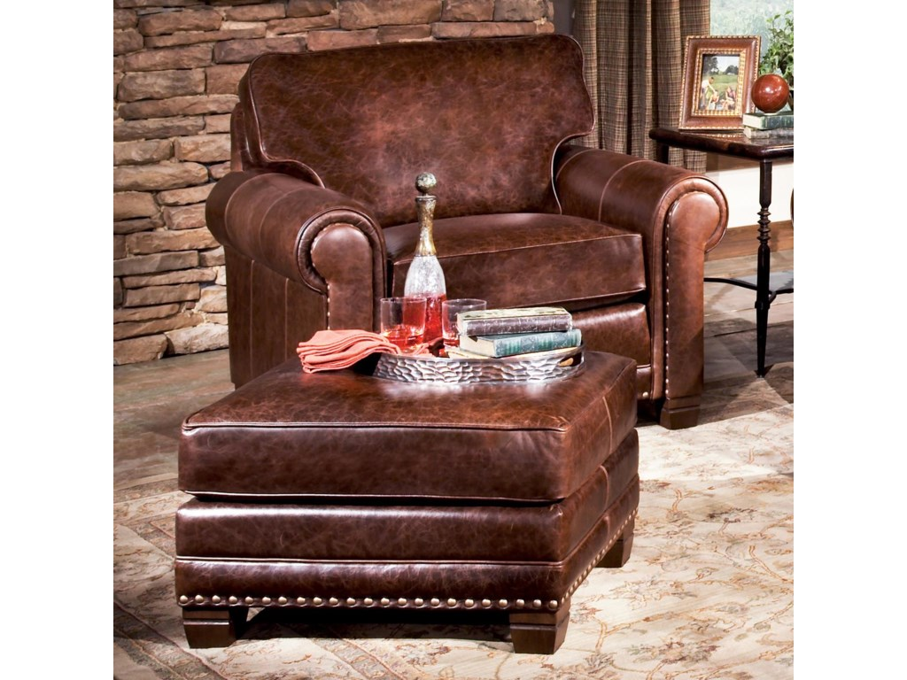 Smith Brothers 393Traditional Chair and Ottoman