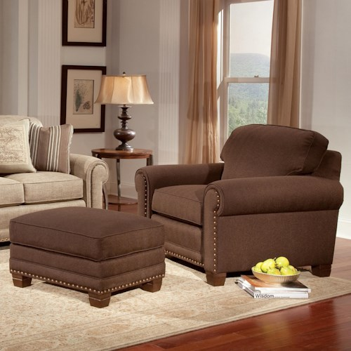 Smith Brothers 393 Traditional Chair and Ottoman with Nailhead Trim