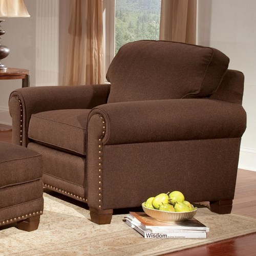 Smith Brothers 393 Traditional Stationary Chair with Nailhead Trim