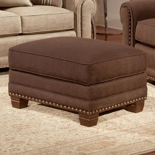 Smith Brothers 393 Traditional Ottoman with Nailhead Trim