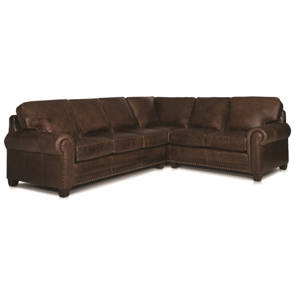 Smith Brothers 393 Traditional 2 Piece Sectional Sofa With Nailhead