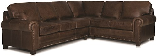 Smith Brothers 393 Traditional 2-piece Sectional Sofa with Nailhead Trim