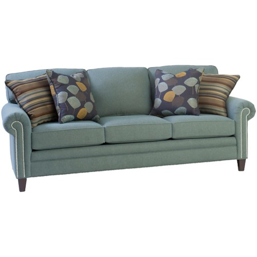 Smith Brothers 395 Style Group Stationary Sofa with Rolled Arms and Nail Head Trim
