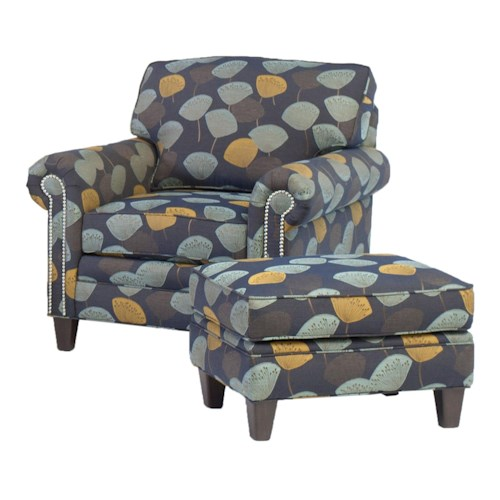 Smith Brothers 395 Style Group Stationary Chair and Ottoman Set with Nail Head Trim and Tapered Wood Legs