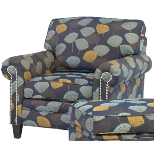 Smith Brothers 395 Style Group Stationary Chair with Rolled Arms and Nail Head Trim