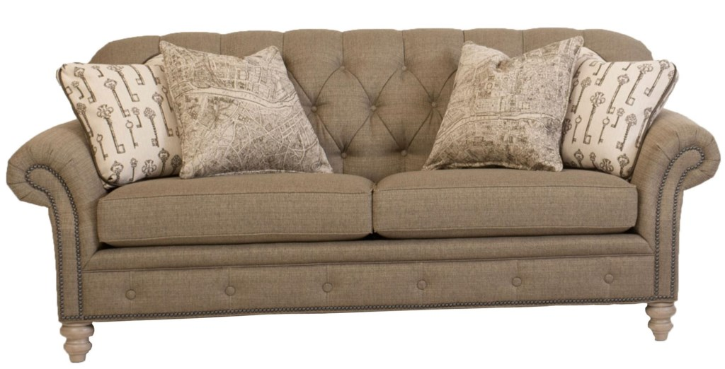 Smith brothers 396 traditional button tufted sofa with nailhead trim