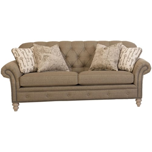 Smith Brothers 396 Traditional Button-Tufted Sofa with Nailhead Trim