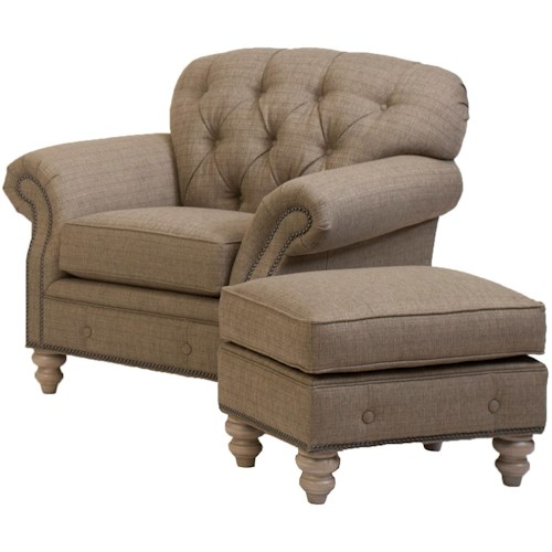 Smith Brothers 396 Traditional Button-Tufted Chair and Ottoman Combination