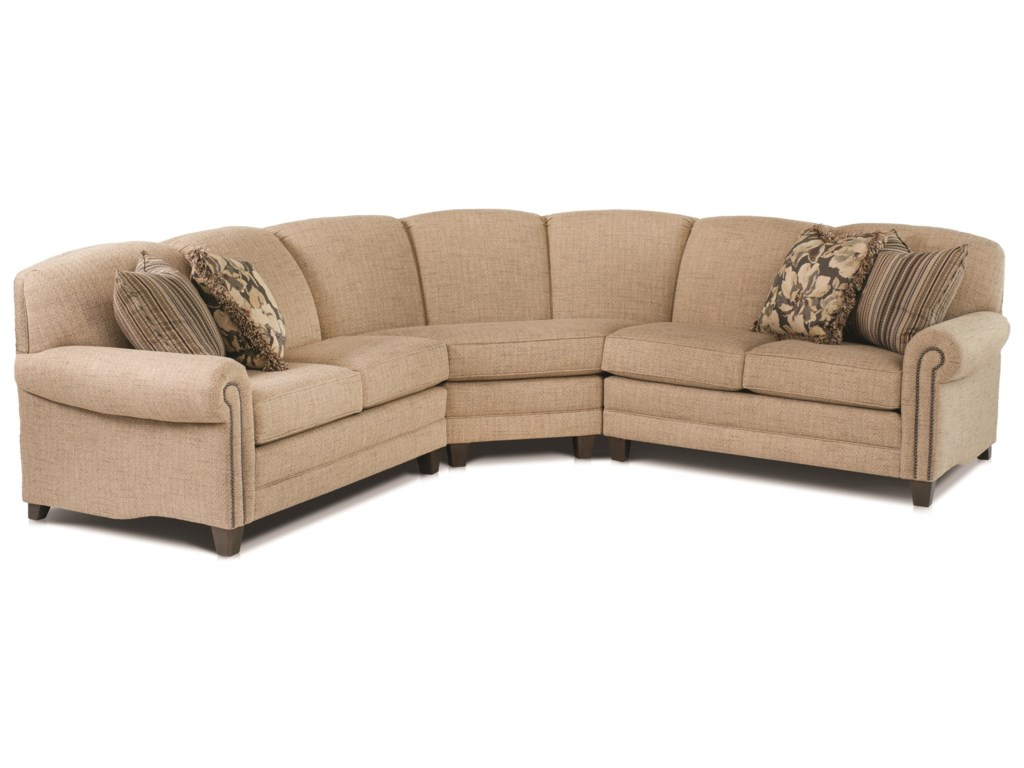 397 Stationary Sectional With Rolled Arms And Nail Head Trim By Smith Brothers
