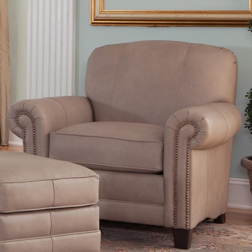 Smith Brothers 397 Stationary Upholstered Chair with Rolled Arms and Tapered Wood Block Legs