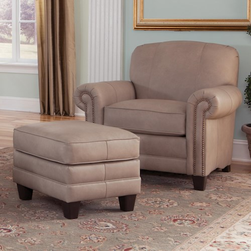 Smith Brothers 397 Chair and Ottoman with Tapered Block Legs