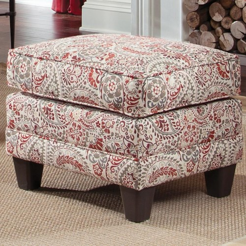 Smith Brothers 397 Upholstered Ottoman with Tapered Wood Block Legs