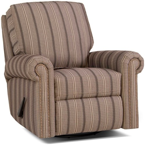 Smith Brothers 416 Traditional Swivel Glider Reclining Chair with Rolled Arms