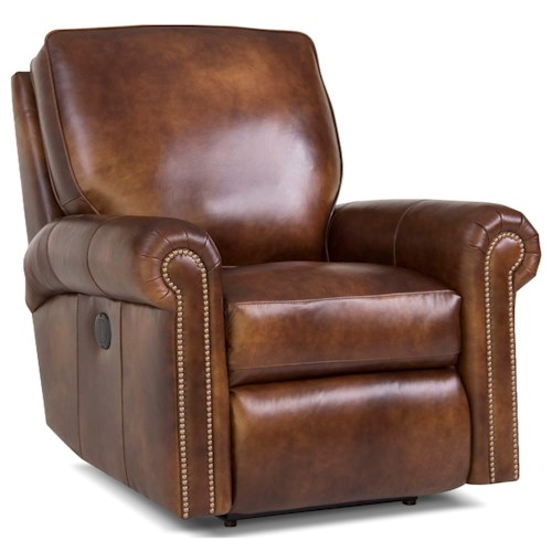 Smith Brothers 416 Traditional Motorized Reclining Chair with Rolled Arms