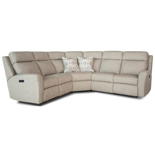 Smith Brothers 418 Casual Motorized Reclining Sectional Sofa with Flared Arms