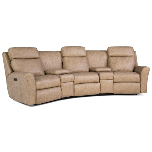 Smith Brothers 418 Casual Motorized Reclining Conversation Sofa with Console Storage