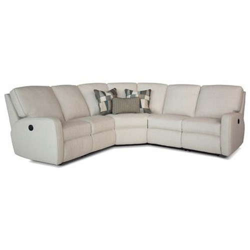 Smith Brothers 419 Contemporary Power Reclining Sectional Sofa with Track Arms