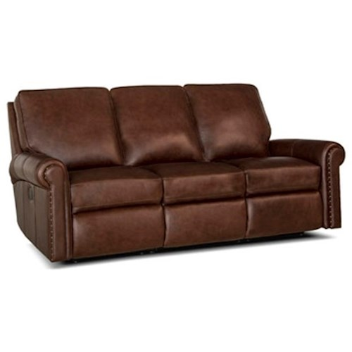 Smith Brothers 420 Traditional Power Reclining Sofa with Rolled Panel Arms