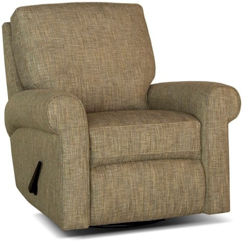Smith Brothers 421 Casual Swivel Glider Reclining Chair with Rolled Sock Arms