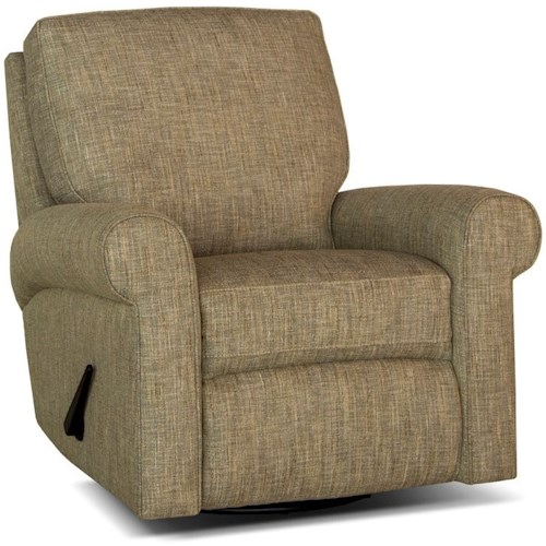 Smith Brothers 421 Casual Motorized Reclining Chair with Rolled Sock Arms