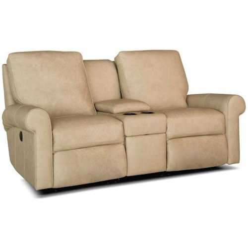 Smith Brothers 421 Casual Reclining Console Loveseat with Cup Holders