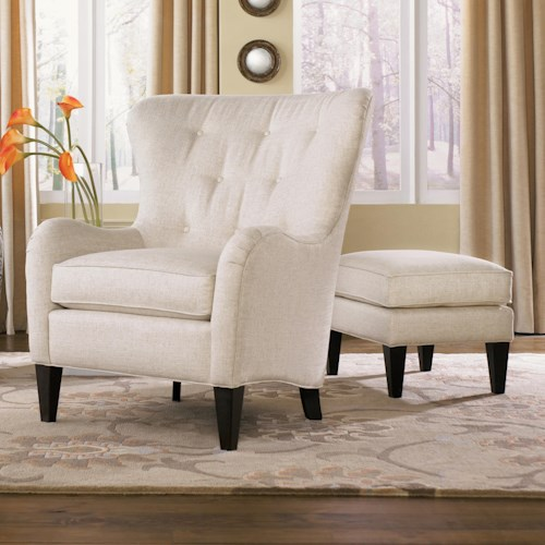 Smith Brothers 502 Style Group Tufted Wing Back Chair with Ottoman