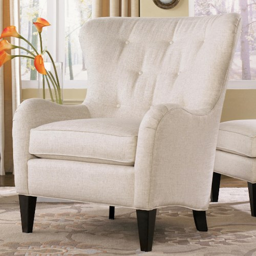 Smith Brothers 502 Style Group Wing Back Chair with Tufting and Wood Tapered Legs