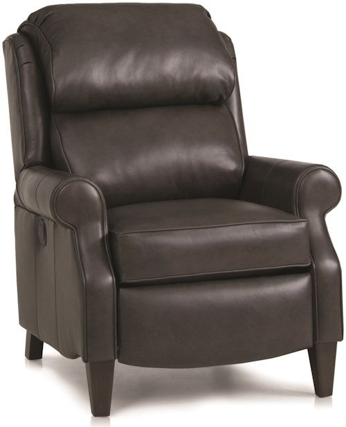 Smith Brothers 503L Traditional Pressback Reclining Chair with Rolled Arms