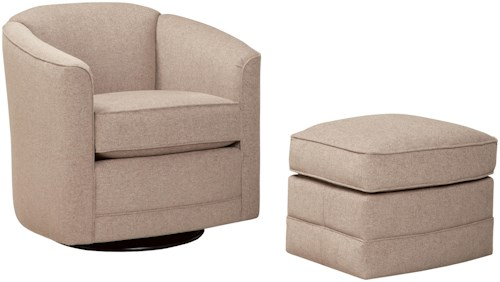 Smith Brothers 506 Swivel Glider Chair and Ottoman Set