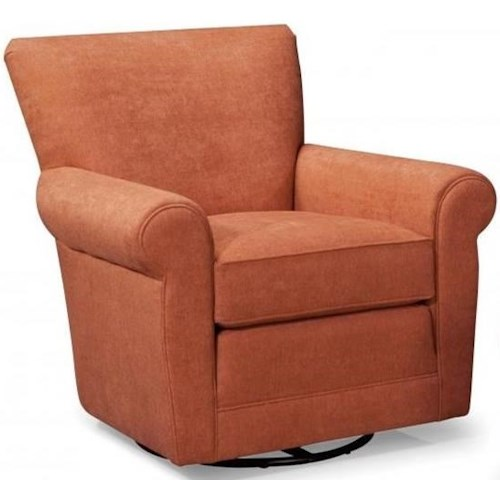 Smith Brothers 514 Casual Swivel Chair with Rolled Arms