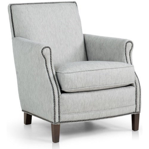 Smith Brothers 517 Casual Chair with Rolled Scooped Arms and Nailhead Trim