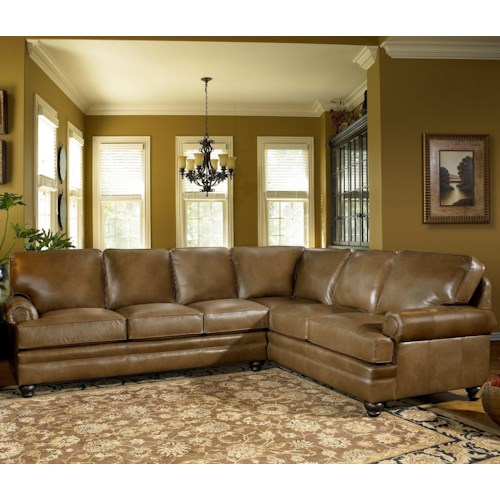 Smith Brothers 5221 Traditional Sectional Sofa with Turned Feet