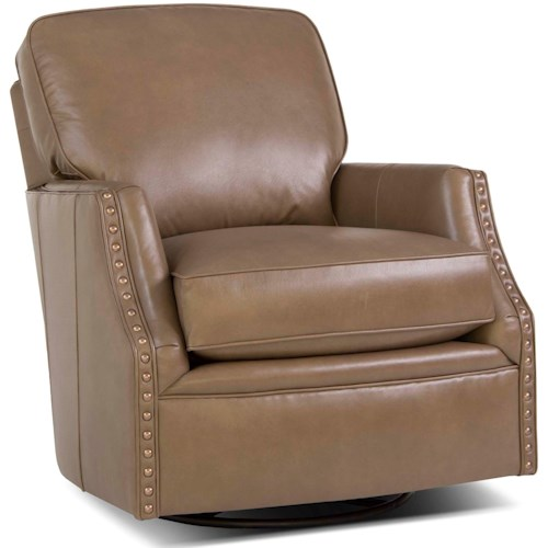 Smith Brothers 526 Casual Swivel Glider Chair with Nailhead Trim
