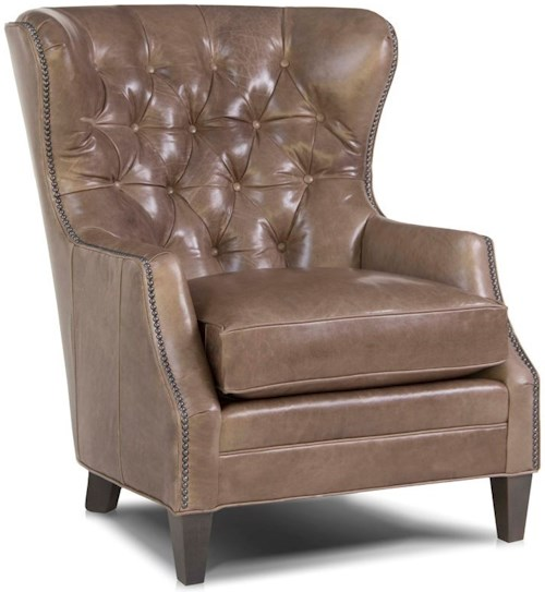 Smith Brothers 527 Traditional Chair with Tufted Wing Back
