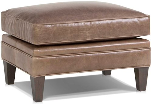 Smith Brothers 527 Traditional Ottoman with Tapered Wood Legs